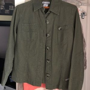 Columbia Button Up Olive Green  Blazer Size Large
